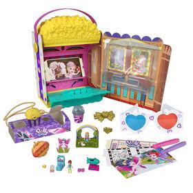 Polly Pocket Un-Box-It Playset, Movie Theater Theme, 2 Dolls, 15+ Surprises
