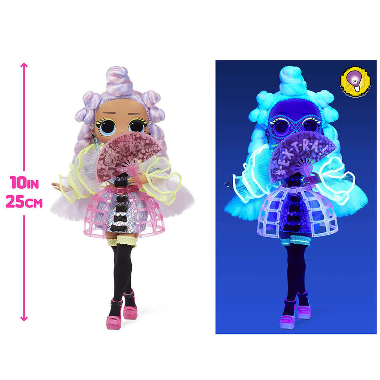LOL Surprise OMG Dance Dance Dance Miss Royale Fashion Doll with 15 Surprises Including Magic Blacklight, Shoes, Hair Brush, Doll Stand and TV Package