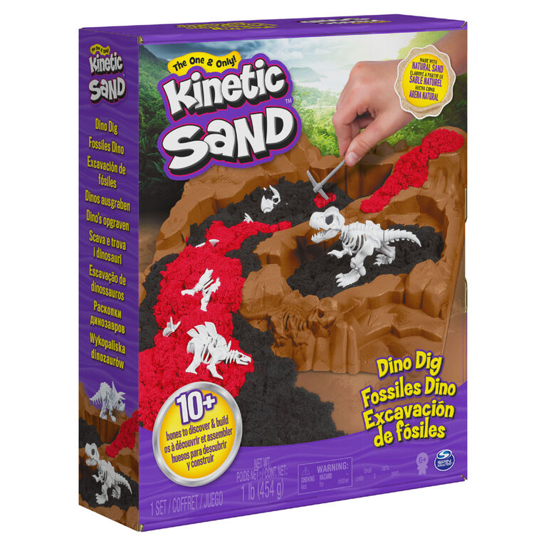 Kinetic Sand, Dino Dig Playset with 10 Hidden Dinosaur Bones to Discover