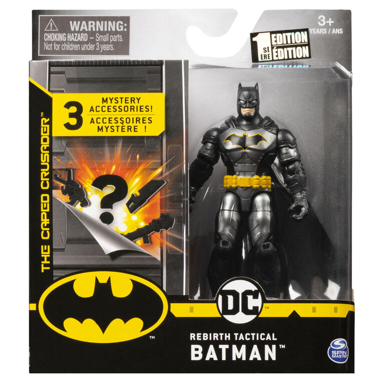 BATMAN, 4-Inch Rebirth Tactical BATMAN Action Figure with 3 Mystery Accessories, Mission 2
