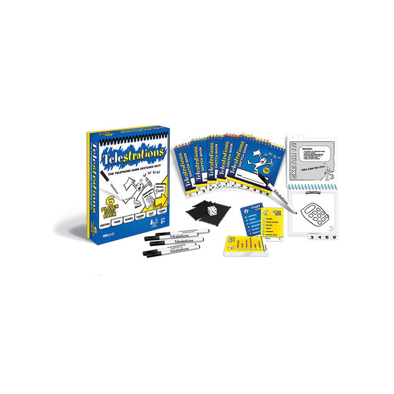 USAopoly Telestrations 6 Player: The Family Pack