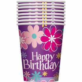 Birthday Blossoms 9oz Paper Cups, 8 pieces - English Edition
