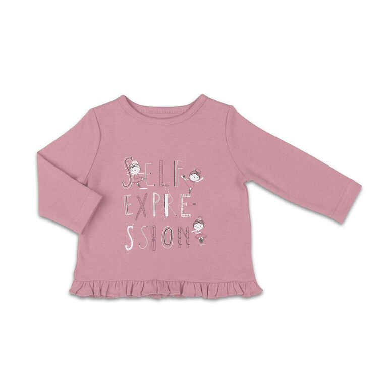 The Peanutshell Baby Girl Layette Mix & Match Self Expression Ruffle Bottom Long Sleeve Shirt - 0-3 Months
