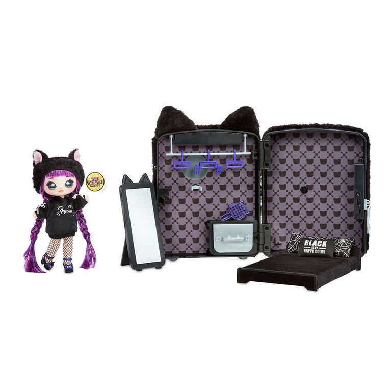 Na! Na! Na! Surprise 3-in-1 Backpack Bedroom Black Kitty Playset with Limited Edition Doll