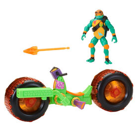 Rise of the Teenage Mutant Ninja Turtles - Moto carapace avec figurine articulée Michelangelo.