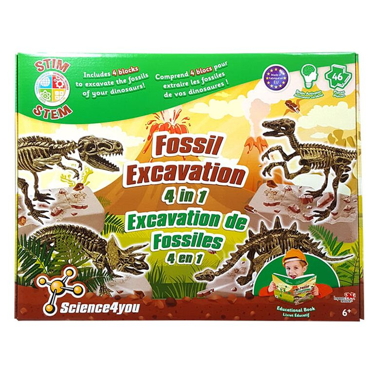 Science4you - <br>Excavation de fossiles 4 en 1.