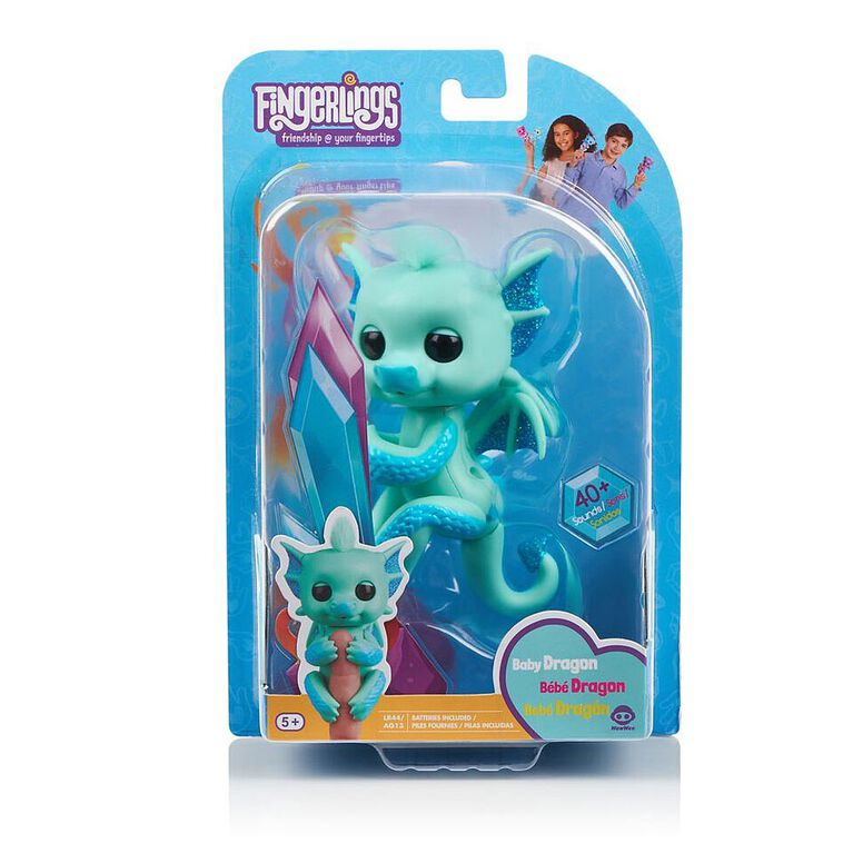 Fingerlings - Glitter Dragon - Noa (Green with Blue) - Interactive Baby Collectible Pet