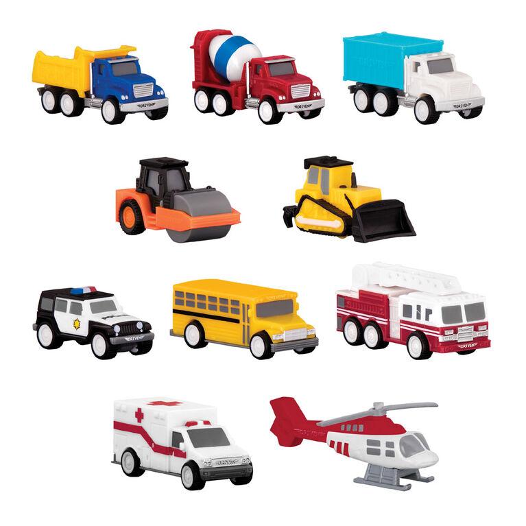 Véhicules De Poche, Driven, Emballage groupé avec camions et véhicules de travail