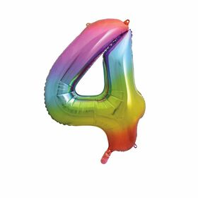 """Rainbow Number 4 Shaped Foil Balloon 34"""""""