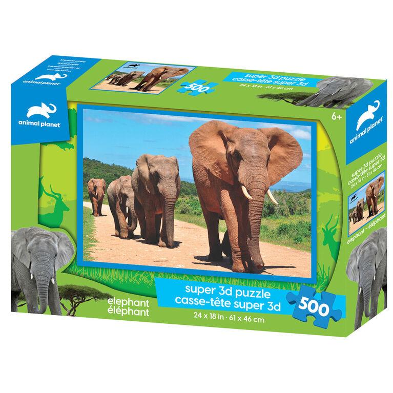 Planète Animale - éléphant - 500 pc Casse-tête Super 3D - Notre exclusivité