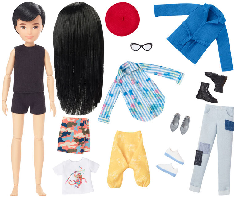 Creatable World Deluxe Character Kit Customizable Doll, Black Straight Hair