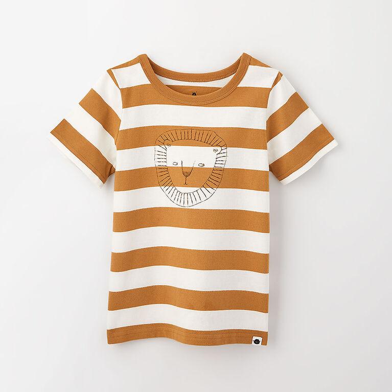 little styler graphic tee, 5-6y - cream stripe