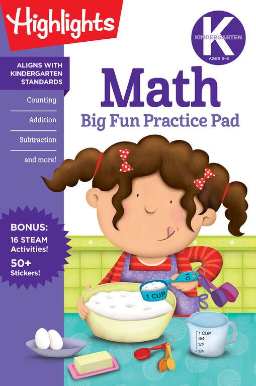 Kindergarten Math Big Fun Practice Pad - Édition anglaise