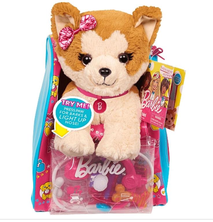 Barbie Vet Bag Set - Brown Beige Puppy with Pink Blue Backpack