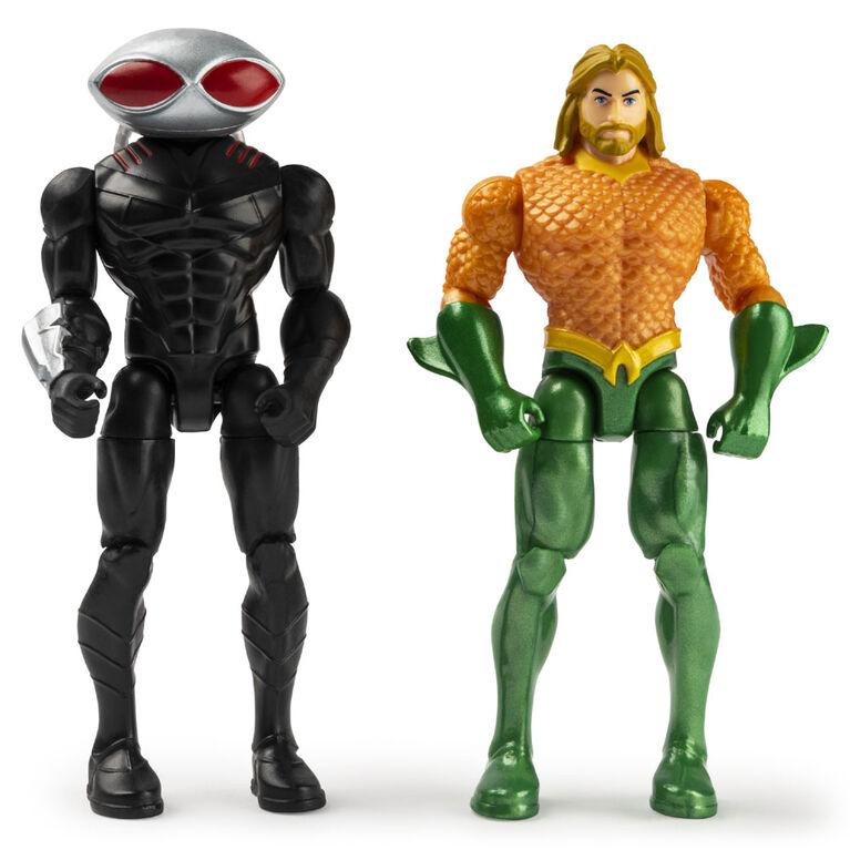 DC Comics, Coffret de 2figurines articulées AQUAMAN vs. BLACK MANTA de 10cm avec 6accessoires mystère, Aventure1