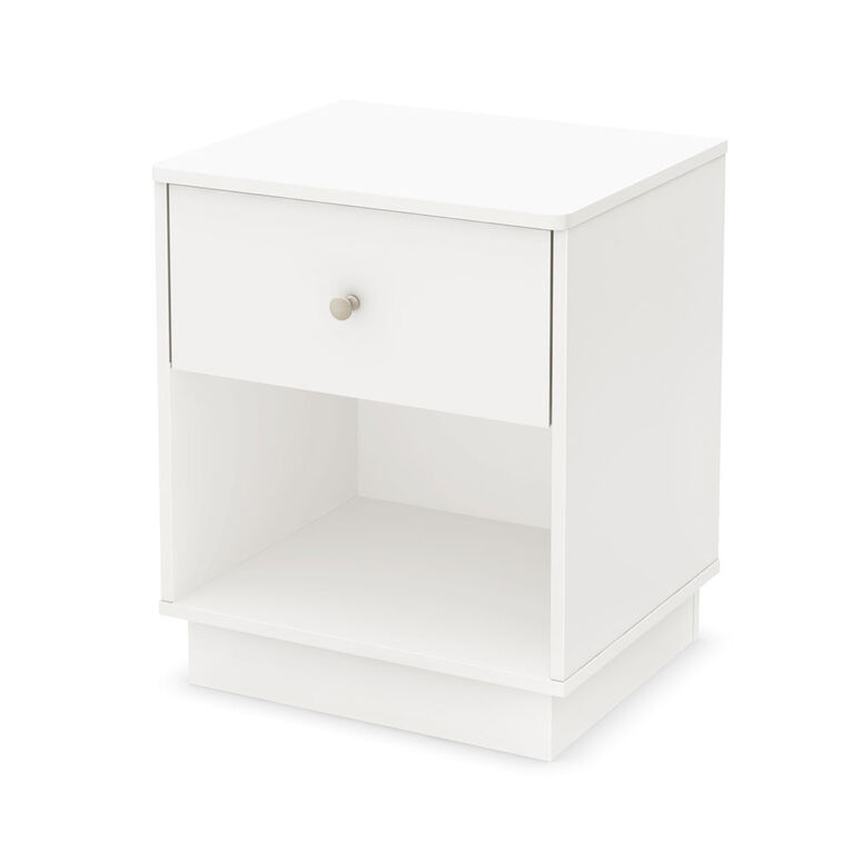 Litchi 1-Drawer Nightstand - End Table with Storage- Pure White