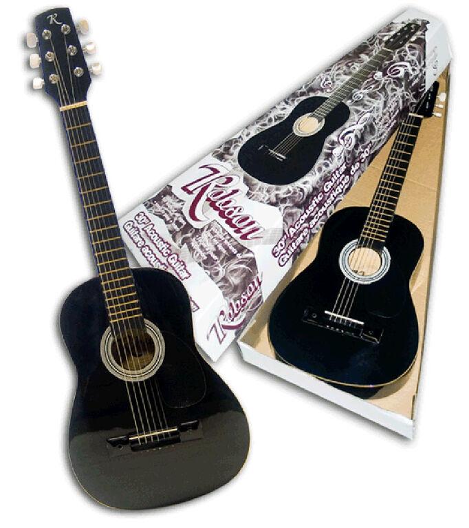 """Guitare acoustique 30""""- noir - Exclusif - les motifs peuvent varier"""