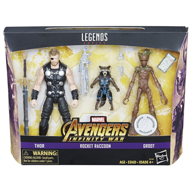 Marvel Legends 6-inch Thor, Rocket Raccoon and Groot 3-Pack - R Exclusive