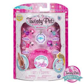 Twisty Petz, Series 2 Babies 4 Pack, Kitties & Ponies Collectible Bracelet & Case (Pink).