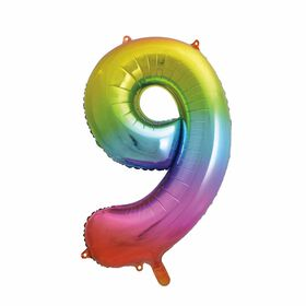 Rainbow Number 9 Shaped Foil Balloon 34""