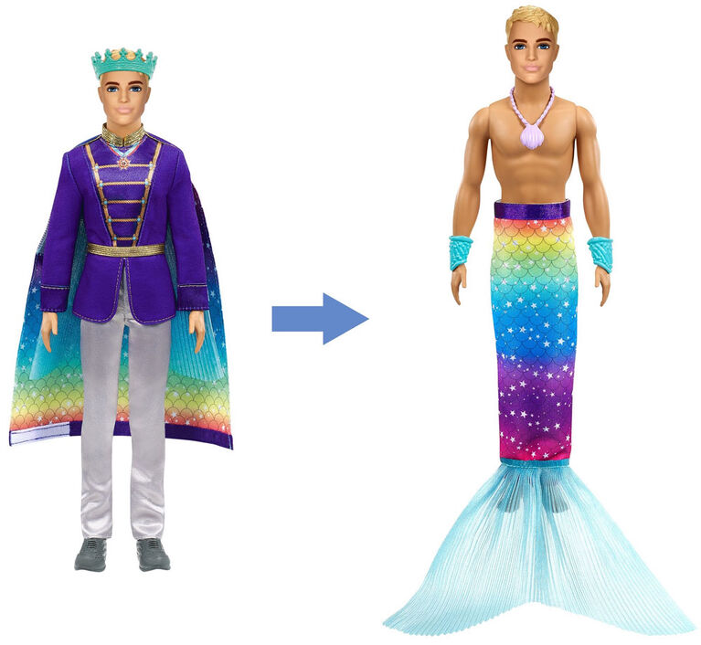 Barbie Dreamtopia 2-in-1 Ken Doll (Blonde, 12-in) with Prince to Merman Fashion Transformation