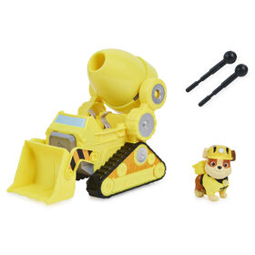 PAW Patrol, Rubble's Deluxe Movie Transforming Toy Car with Collectible Action Figure