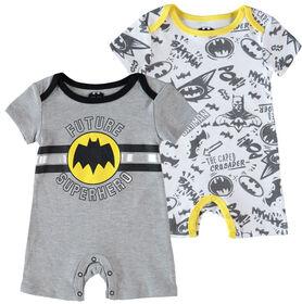 Batman Newborn Future Superhero 2 Pack Rompers 3-6M Grey