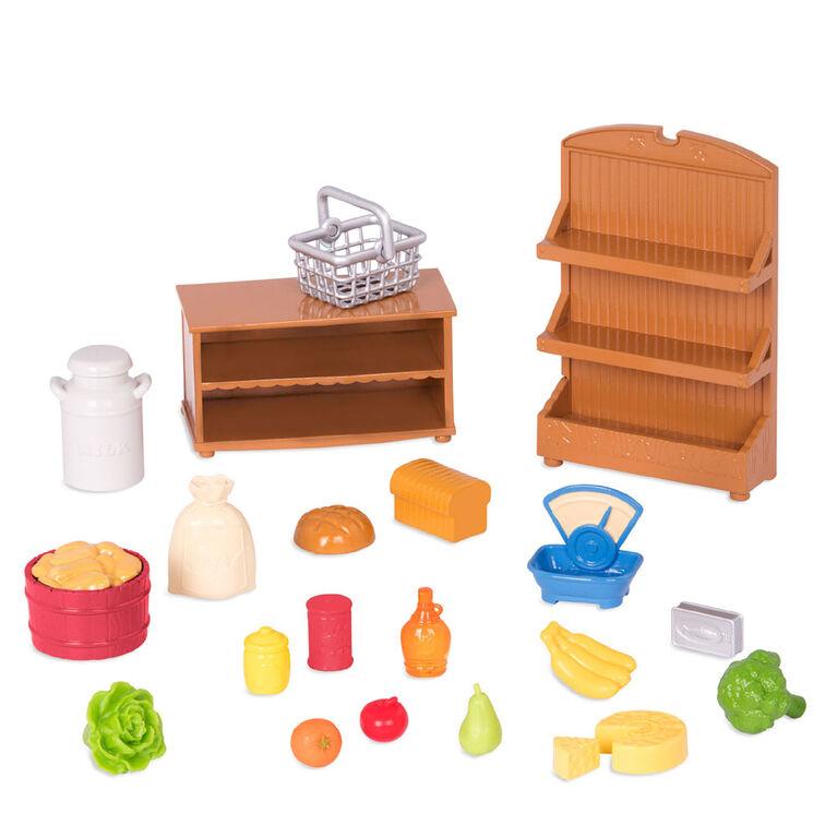 Épicerie, Li'l Woodzeez, Ensemble d'accessoires pour magasin avec aliments-jouets