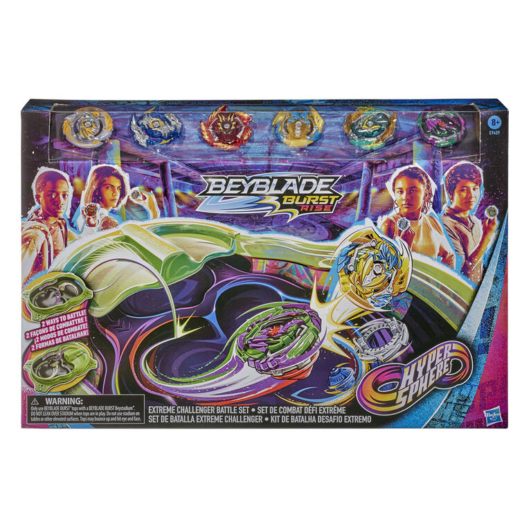 Beyblade Burst Rise Hypersphere Extreme Challenger Battle Set -- Set with Beystadium, 6 Battling Top Toys and 2 Launchers - R Exclusive