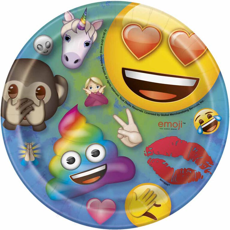 Rainbow Emoji Assiettes 7po, 8un