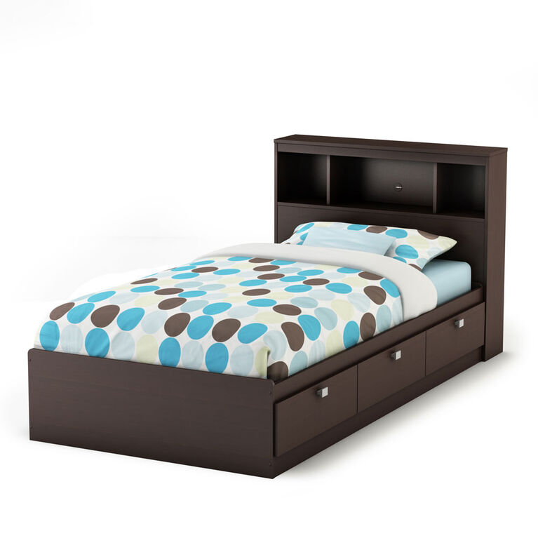 Spark Mate's Platform Storage Bed with 3 Drawers- Chocolate