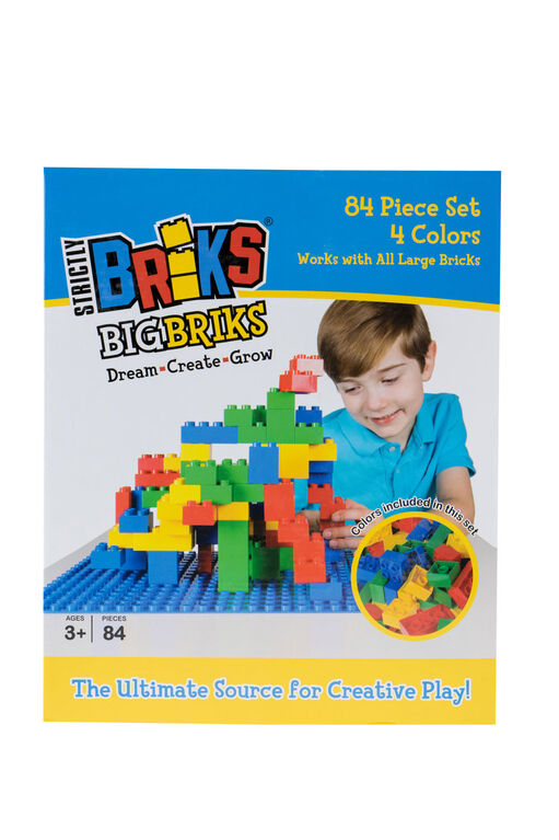 Strictly Briks - Big Briks - 84 Pieces - Blue, Green, Red, Yellow
