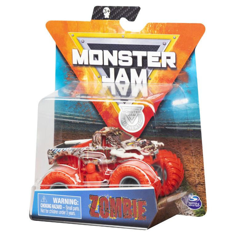 Monster Jam, Monster truck authentique Zombie en métal moulé à l'échelle 1:64, série Nitro Neon