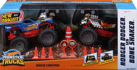 New Bright RC - Jouet radiocommandé à l'échelle Monster Truck Hot Wheels à l'échelle 1:24 - Paquet double. - Notre Exclusivité