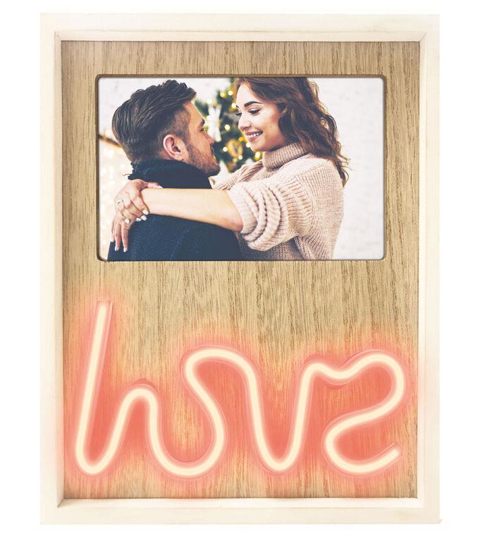 """Cadre photo """"LOVE"""" néon aux idées brillantes"""