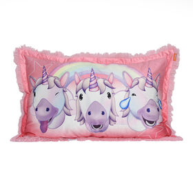 Emoji Unicorn Jumbo Funky Fur Pillow