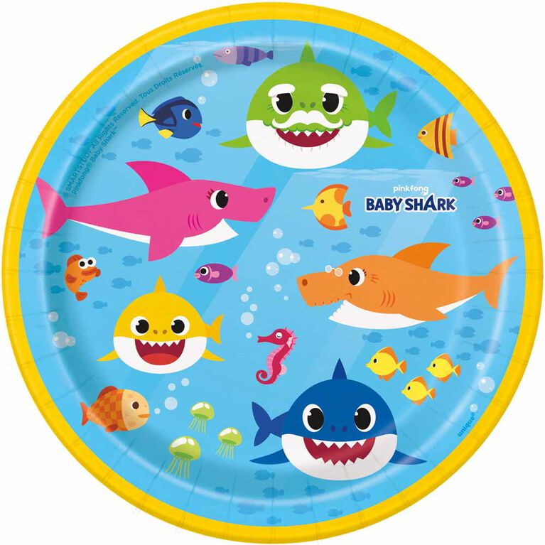 """Baby Shark  7""""  Plates, 8 pieces"""