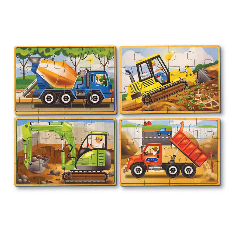 Melissa & Doug Construction Vehicles 4-in-1 Wooden Jigsaw Puzzles - 48 pieces