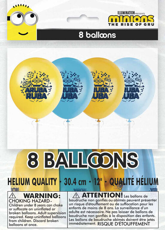 """Minions 12"""" Latex Balloons, 8 pieces"""