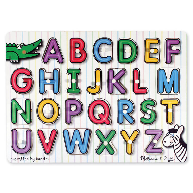 Melissa & Doug See-Inside Alphabet Wooden Peg Puzzle - 26 pieces - English Edition