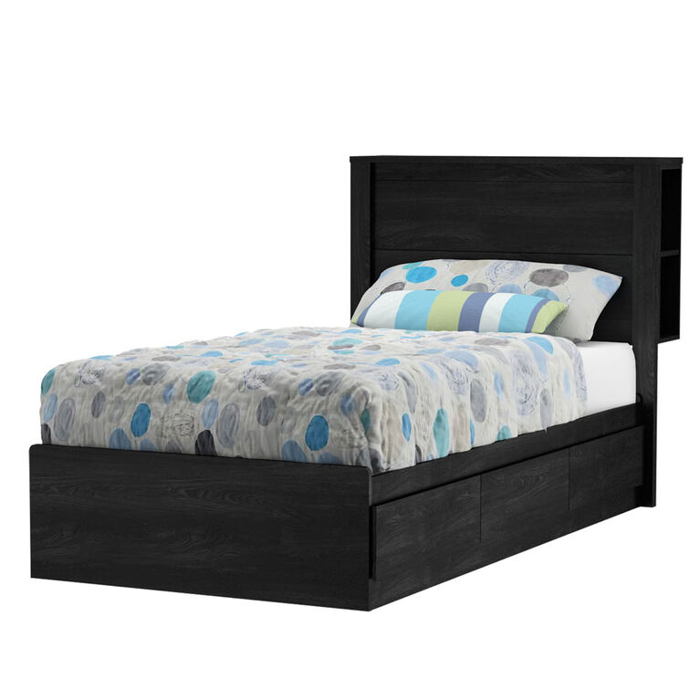Fynn Mates Bed with 3 Drawers- Gray Oak