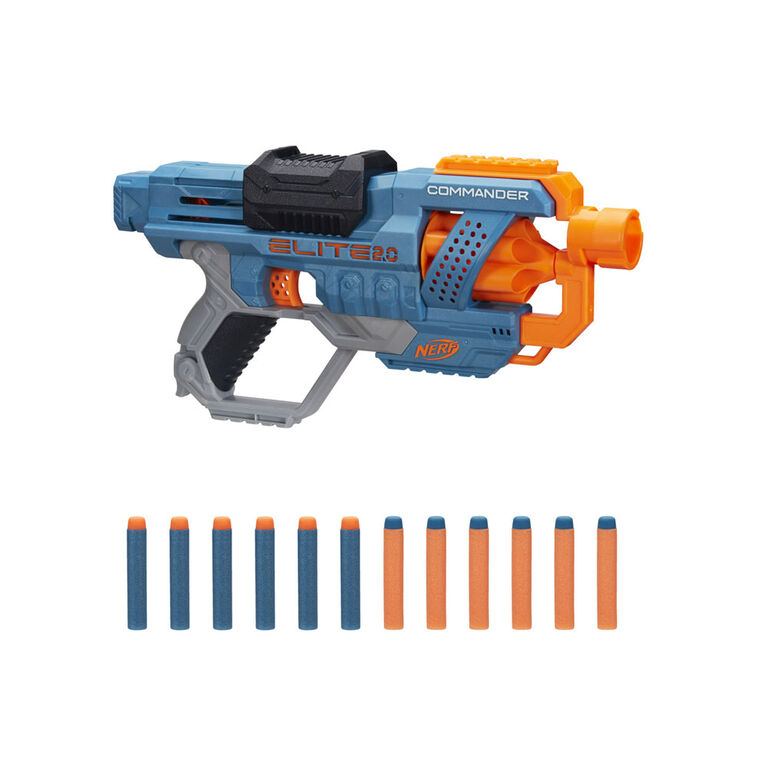Nerf Elite 2.0 Commander RD-6 Blaster, 12 Official Nerf Darts, 6-Dart Rotating Drum, Tactical Rails, Barrel and Stock Attachment Points