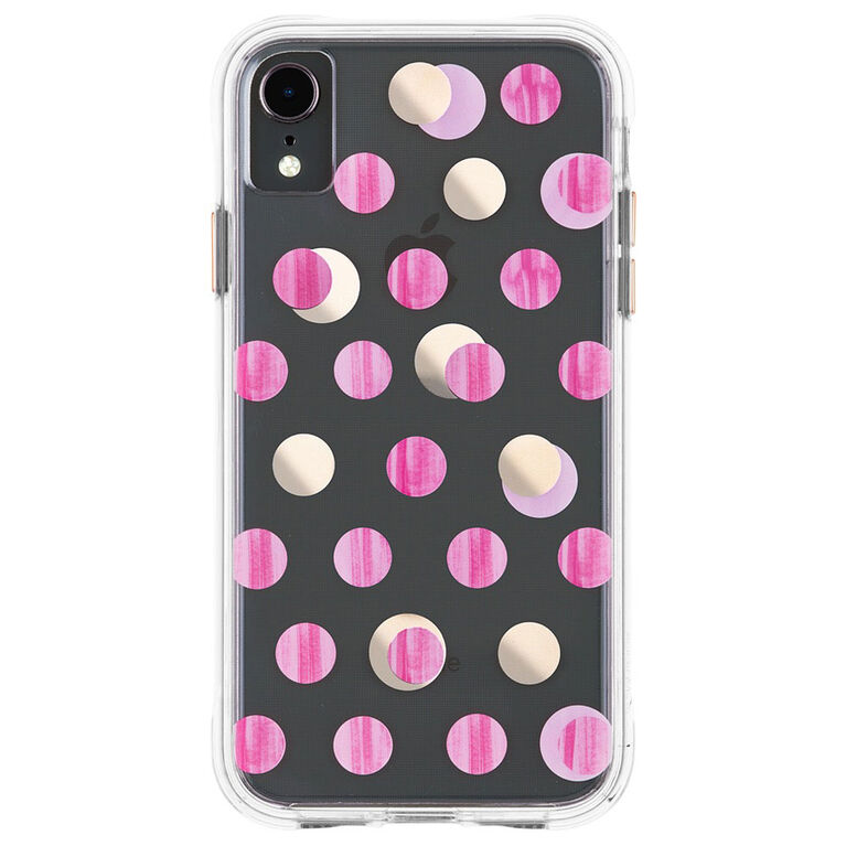Étui Wallpaper de Case-Mate pour iPhone Xr, dot rose