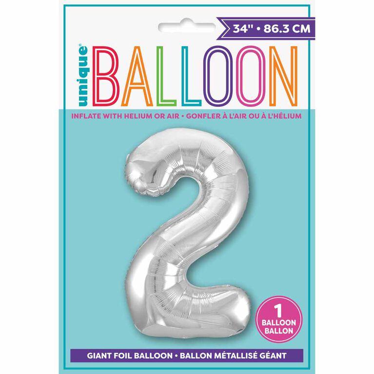 """Ballon en aluminium argenté en forme de nombre 34"""" - 2"""