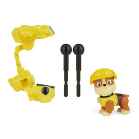 PAW Patrol, Movie Collectible Rubble Action Figure with Clip-on Backpack and 2 Projectiles