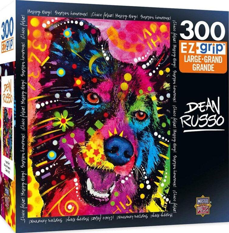 Masterpieces - EZ Grip - Dean Russo Happy Boy Colorful Dog Jigsaw Puzzle 300  Piece