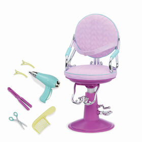 Our Generation, Sitting Pretty Salon Chair, Hairstyling Playset for 18-inch Dolls - Purple