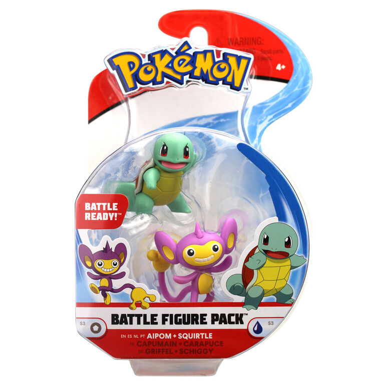 """Battle Figure Pack (2"""" Fig 2-Pack) - Aipom & Squirtle"""