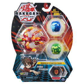 Bakugan Starter Pack 3-Pack, Pyrus Pyravian, Collectible Action Figures
