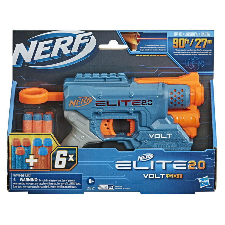 Nerf Elite 2.0 Volt SD-1 Blaster -- 6 Official Nerf Darts, Light Beam Targeting, 2-Dart Storage, 2 Tactical Rails to Customize for Battle